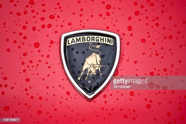 Badge Logo of Lamborghini Countach 5000 Quattro Valvole sports car built 1988 at classic car rally at Brize Norton in Oxfordshire, UK