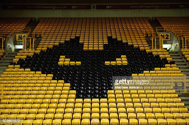 Badge / logo of Wolves in the Stan Cullis Stand Molineux Stadium the home of Wolverhampton Wanderers