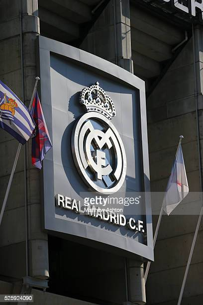 Badge / logo on the side of the Santiago Bernabeu the home stadium of Real Madrid