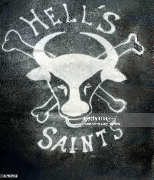 Badge on the back of a leather jacket Oswestry Hell�s Saints motorcycle gang