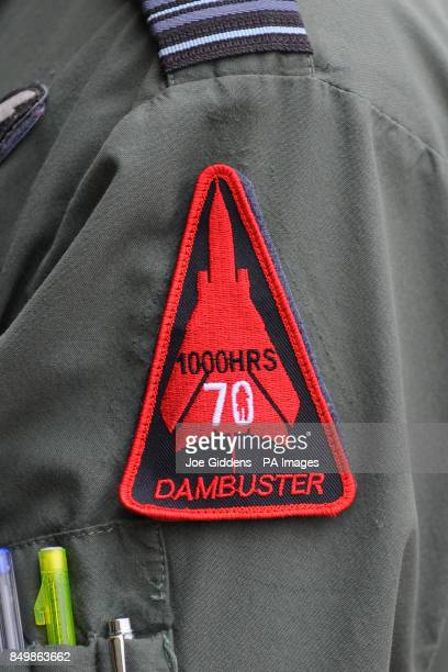 A badge which comemerates the 70th anniversar of the Dambusters raid is unveiled at RAF Coningsby in Lincolnshire