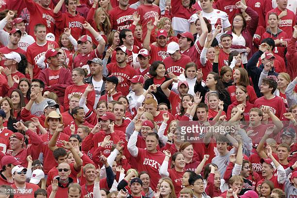 Badger fans cheer on their team during the game between the Wisconsin Badgers and the Western Illinois Leathernecks at Camp Randall Stadium in...