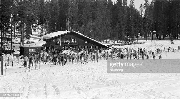 Badger Pass ski lodge, Yosemite 1950, retro