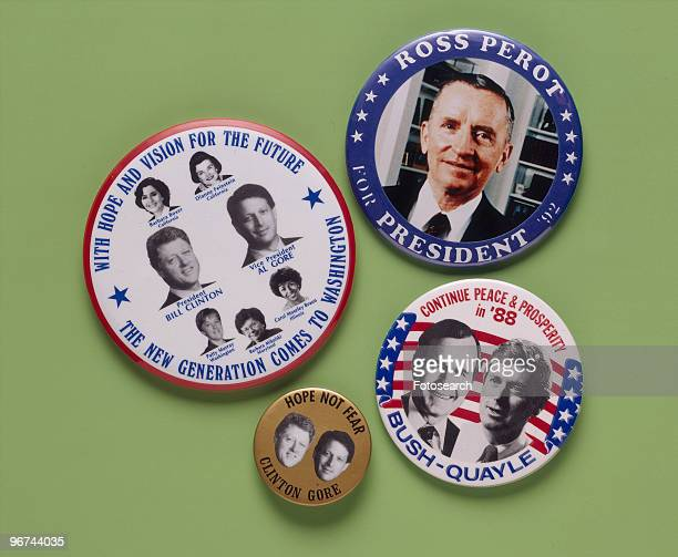 Badges for the 1988 ial Election the badges feature the candidates Bill Clinton and Al Gore George Bush and Dan Quayle and Ross Perot USA circa 1988