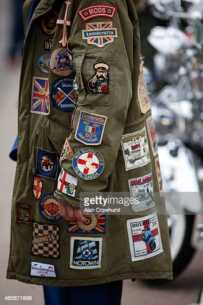 Badges on a Parka during the Brighton Mod Weekender where mods and their scooters gather on the annual bank holiday weekend event on August 30 2015...