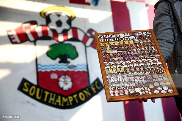 Badges on sale ahead of the Under 21 Premier League Cup Final Second Leg match between Southampton and Blackburn Rovers at St Mary's Stadium on April...