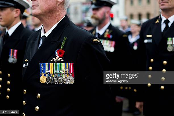 Badges worn by a Army veteran during the Anzac Day parade in Melbourne Victoria Australia on April 25 2015 This years Anzac Day marks the centenary...