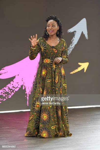 Badili Africa founder Bina Maseno speaks speaks at Goalkeepers 2017 at Jazz at Lincoln Center on September 20 2017 in New York City Goalkeepers is...