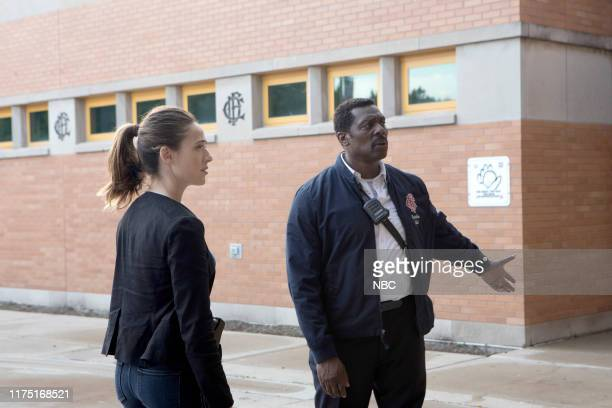 "Badlands"" Episode 803 -- Pictured: Marina Squerciati as Officer Kim Burgess, Eamonn Walker as Battalion Chief Wallace Boden --"