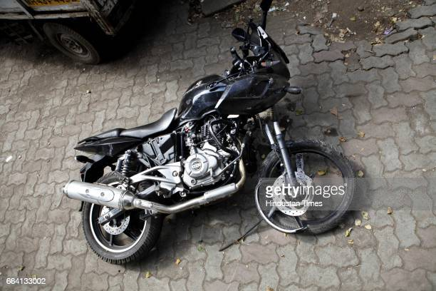 A badly damaged Bajaj Pulsar bike lies at Vakola Police Station on Tuesday The biker met with an accident early morning on the Western Express...