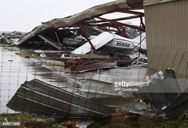 Badly damaged light planes in their hanger at Rockport Airport after heavy damage when Hurricane Harvey hit Rockport Texas on August 26 2017...