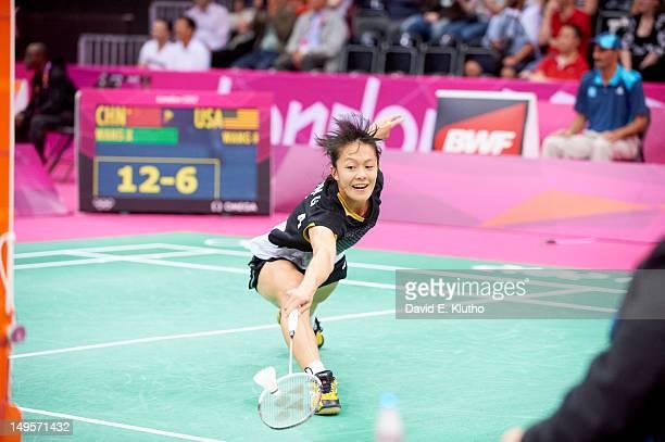 2012 Summer Olympics USA Rena Wang in action vs China Wang Xin during Women's Singles Preliminary Round Group P at Wembley Arena London United...