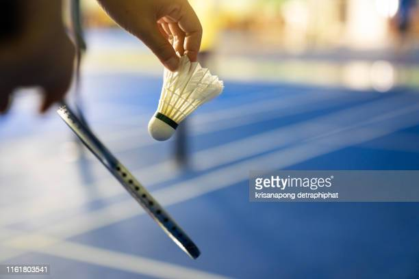 badminton courts with players competing - スポーツ バドミントン ストックフォトと画像