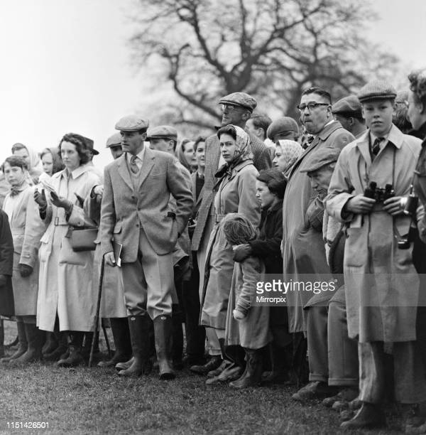 Badminton Horse Trials, Badminton, Gloucestershire. Pictured, watching the events among the crowd, Queen Elizabeth II and Princess Margaret. 17th...
