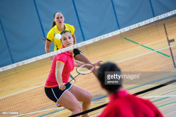badminton mixed doubles - badminton stock photos and pictures