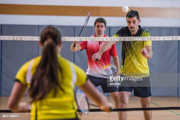 badminton mixed doubles - badminton stock photos and pictures