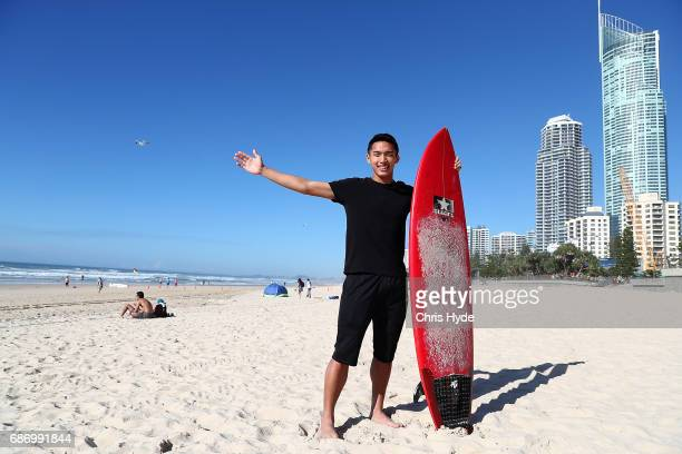 Badminton player Jonatan Christie of Indonesia poses during a Sudirman Cup media opportunity at Surfers Paradise Beach on May 23 2017 in Gold Coast...