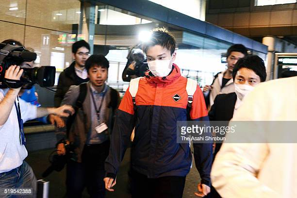 Badminton player Kento Momota is seen on arrival at the Narita International Airport on April 7 2016 in Narita Chiba Japan Momota along with his team...