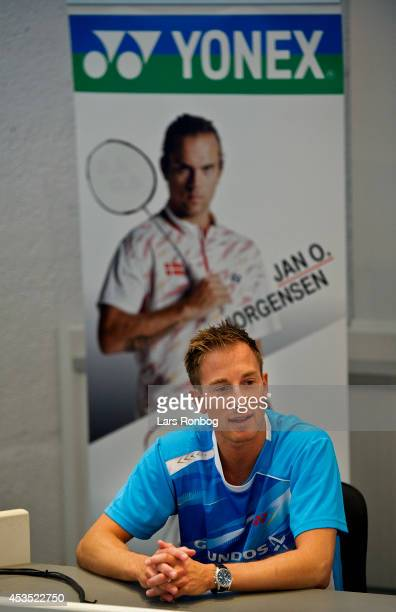 Badminton player Peter Gade speaks on the podium in a Yonex press conference after the Danish National Badminton Team training ahead of the Badminton...