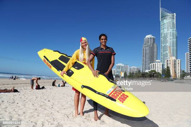 Badminton player PV Sindhu of India and Australian surf lifesaver and Ironwoman Kirsty Higgison pose during a Sudirman Cup media opportunity at...