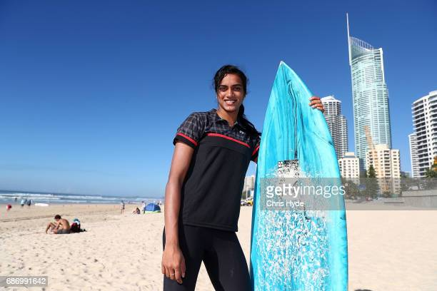 Badminton player PV Sindhu of India poses during a Sudirman Cup media opportunity at Surfers Paradise Beach on May 23 2017 in Gold Coast Australia...