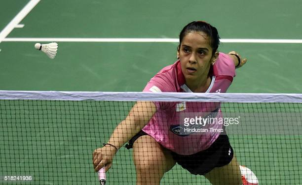 Badminton player Saina Nehwal in action against Tanvi Lad during the India Open 2016 Badminton on March 30 2016 in New Delhi India