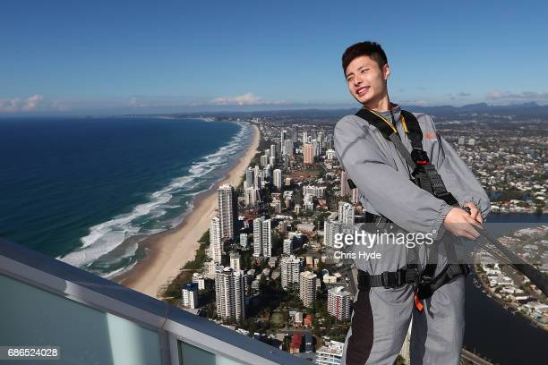 Badminton player Shi Yuqi of China poses on the Skydeck walk at the Skypoint Observation Deck on May 22 2017 in Gold Coast Australia Today Badminton...