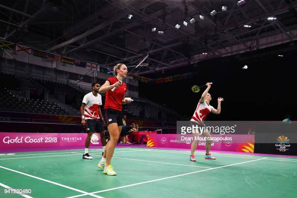 Badminton players Gabrielle Adcock Rajiv Ouseph and of England look on ahead of the 2018 Commonwealth Games at the Carrara Sports and Leisure Centre...