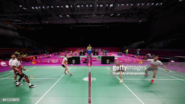 Badminton players Gabrielle Adcock Rajiv Ouseph Chris Langridge and Lauren Smith of England practice ahead of the 2018 Commonwealth Games at the...