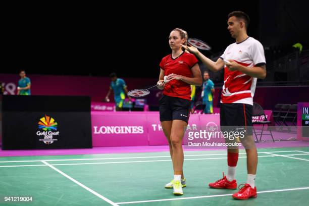 Badminton players Gabrielle and Chris Adcock of England look on ahead of the 2018 Commonwealth Games at the Carrara Sports and Leisure Centre on...