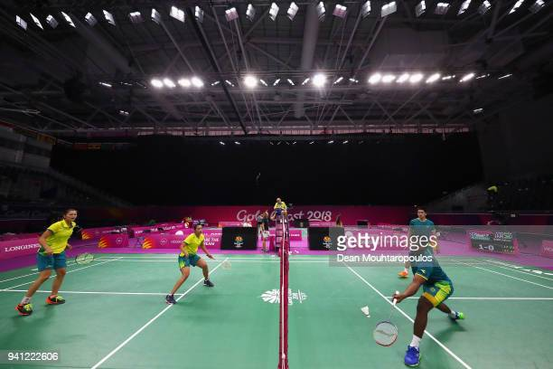 Badminton players Gronya Somerville Setyana Mapasa Sawan Serasinghe and Matthew Chau of Australia practice ahead of the 2018 Commonwealth Games at...
