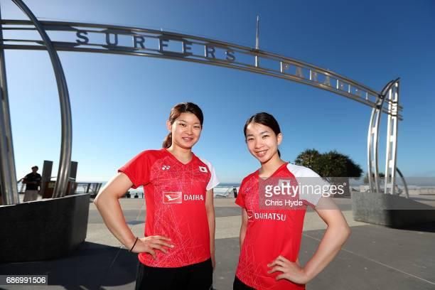 Badminton players Misaki Matsutomo and Ayaka Takahashi of Japan pose during a Sudirman Cup media opportunity at Surfers Paradise Beach on May 23 2017...