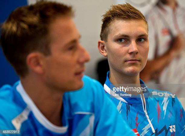 Badminton players Peter Gade and Viktor Axelsen speaks on the podium in a Yonex press conference after the Danish National Badminton Team training...