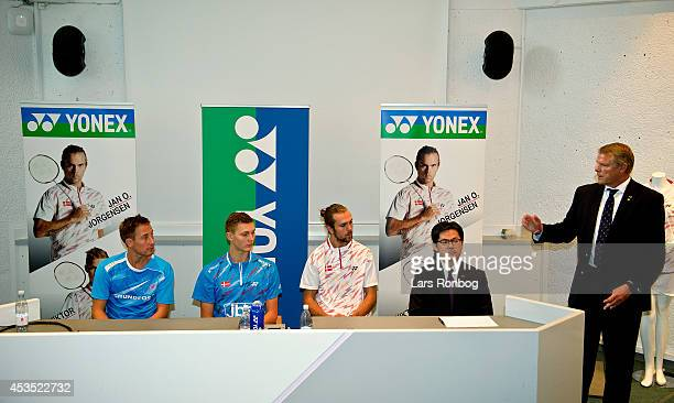 Badminton players Peter Gade Viktor Axelsen and Jan O Jorgensen speaks on the podium in a Yonex press conference after the Danish National Badminton...