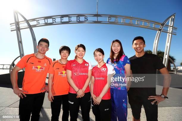 Badminton players Zheng Siwei and Chen Qingchen of China Misaki Matsutomo and Ayaka Takahashi of Japan Sung Ji Hyun of Korea and Jonatan Christie of...