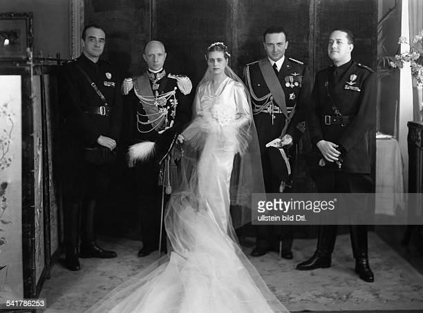 Badoglio Mario Fernando Antonio Luigi Italy*19051953 with his bride Giuliana Rota and Minister Alessandro Lessona Duke Adalberto di Bergamo and...