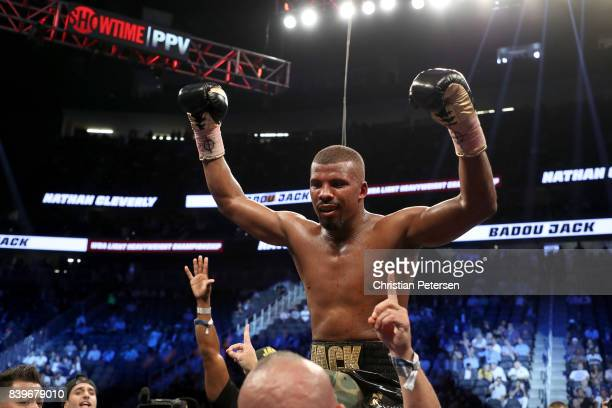 Badou Jack celebrates after winning by TKO in the fifth round of his WBA light heavyweight championship bout against Nathan Cleverly on August 26...