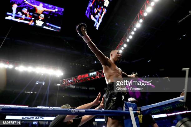 Badou Jack stands on the ropes after winning by TKO in the fifth round of his WBA light heavyweight championship bout against Nathan Cleverly on...