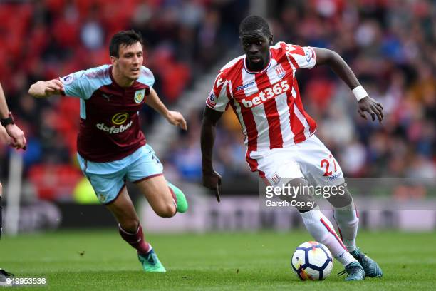 Badou Ndiaye of Stoke City and during the Premier League match between Stoke City and Burnley at Bet365 Stadium on April 22 2018 in Stoke on Trent...