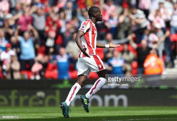 Badou Ndiaye of Stoke City celebrates scoring his sides first goal during the Premier League match between Stoke City and Burnley at Bet365 Stadium...