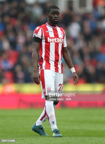 Badou Ndiaye of Stoke City during the Premier League match between Stoke City and Tottenham Hotspur at Bet365 Stadium on April 7 2018 in Stoke on...