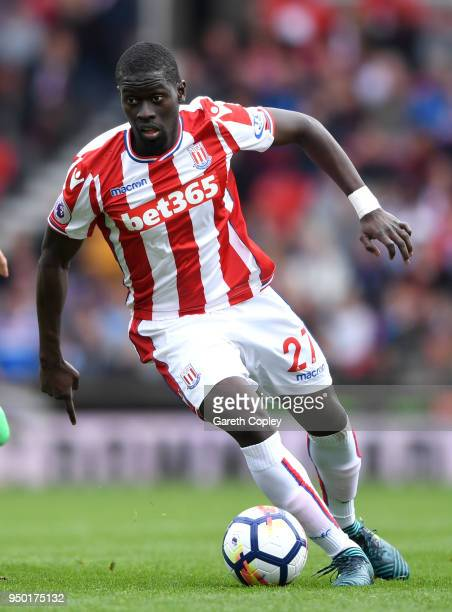 Badou Ndiaye of Stoke City during the Premier League match between Stoke City and Burnley at Bet365 Stadium on April 22 2018 in Stoke on Trent England