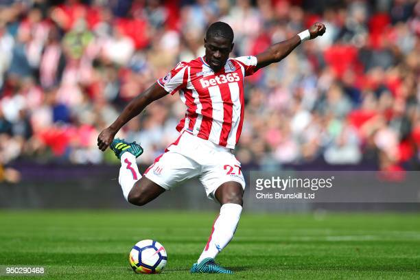 Badou Ndiaye of Stoke City in action during the Premier League match between Stoke City and Burnley at Bet365 Stadium on April 22 2018 in Stoke on...