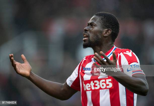 Badou Ndiaye of Stoke City reacts during the Premier League match between Stoke City and Brighton and Hove Albion at Bet365 Stadium on February 10...