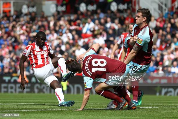 Badou Ndiaye of Stoke City scores his side's first goal during the Premier League match between Stoke City and Burnley at Bet365 Stadium on April 22...