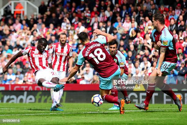 Badou Ndiaye of Stoke City scores the opening goal during the Premier League match between Stoke City and Burnley at Bet365 Stadium on April 22 2018...