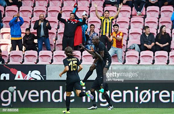 Badou Papa Alioune Ndiaye of Osmanlispor FK and Pierre Achille Webo Kouamo of Osmanlispor FK celebrate after scoring their first goal during the UEFA...