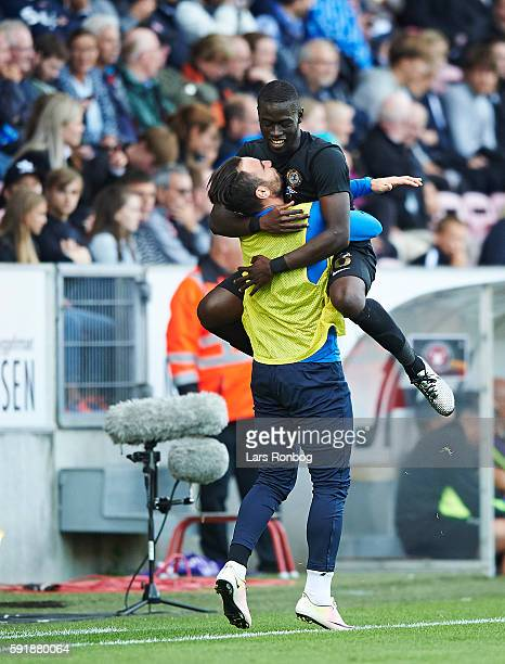 Badou Papa Alioune Ndiaye of Osmanlispor FK celebrates after scoring their first goal during the UEFA Europa League playoff 1st leg match between FC...