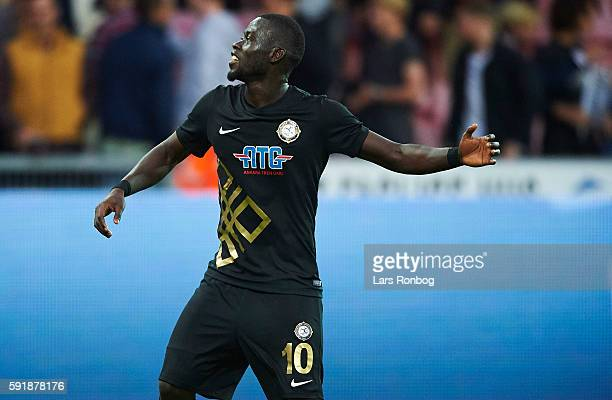 Badou Papa Alioune Ndiaye of Osmanlispor FK celebrates after the UEFA Europa League playoff 1st leg match between FC Midtjylland and Osmanlispor FK...