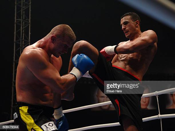 Badr Hari and Paul Slowinski compete in the K1 World GP 2006 in Tokyo Final at the Tokyo Dome on December 2 2006 in Tokyo Japan